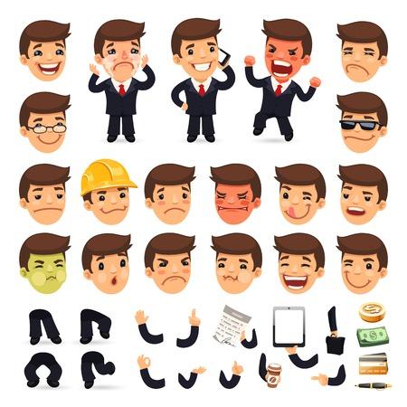 Illustrazione per Set of Cartoon Businessman Character for Your Design - Immagini Royalty Free