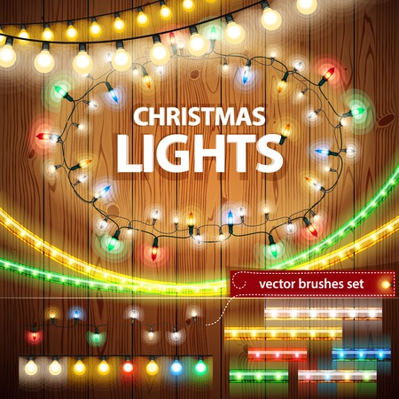 Illustration pour Christmas Lights Decorations Set - image libre de droit