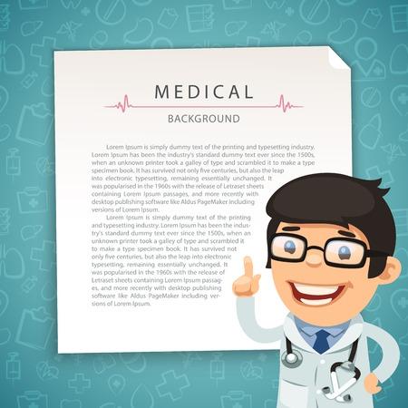 Illustration pour Aquamarine Medical Background with Doctor - image libre de droit