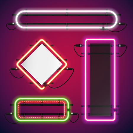 Illustration pour Neon Lights Rectangle Frames Set for Your Custom Banner. Used pattern brushes included. There are fastening elements in a symbol palette. - image libre de droit