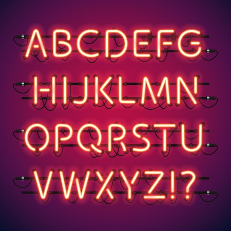 Illustration for Glowing Neon Bar Alphabet. Used pattern brushes included. There are fastening elements in a symbol palette. - Royalty Free Image