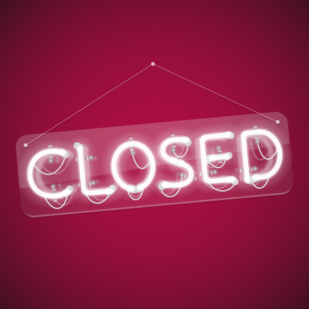 Illustration for White Glowing Neon Closed Sign. Used pattern brushes included. There are fastening elements in a symbol palette. - Royalty Free Image