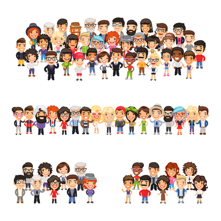 Illustration pour Tree big group of casually dressed flat cartoon people. Isolated on white background. - image libre de droit