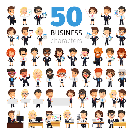 Ilustración de Big set of 50 business people and other office workers. Isolated on white background. Clipping paths included. - Imagen libre de derechos