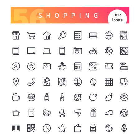 Ilustración de Set of 56 shopping line icons suitable for web, infographics and apps. Isolated on white background. - Imagen libre de derechos