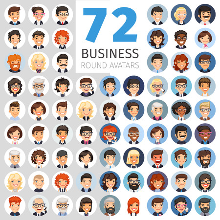 Illustration pour Flat Businessmen Round Avatars Big Collection - image libre de droit