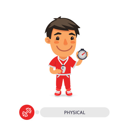 Illustrazione per Cartoon flat character of physical education teacher with a stopwatch. Clipping paths included. - Immagini Royalty Free