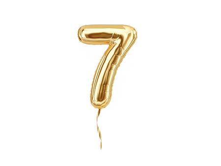 Foto de Numeral 7. Foil balloon number seven isolated on white background - Imagen libre de derechos