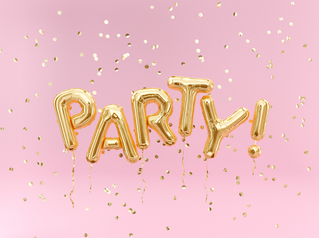 Photo pour Flying foil balloon Party letters and golden confetti on pink background. - image libre de droit
