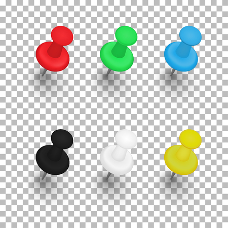 Illustration for Set of push pins with shadows on transparent background. Vector illustration - Royalty Free Image