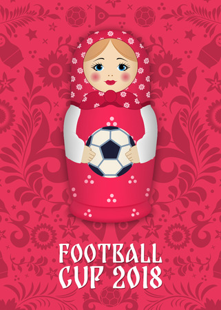 Ilustración de Matryoshka with a ball on the background of Russian patterns and elements. Football 2018. Vector illustration - Imagen libre de derechos