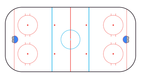 Illustration pour Ice Hockey Rink top view. Hockey background. Vector illustration - image libre de droit