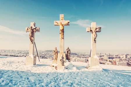 Photo pour Calvary in Nitra city, Slovak republic. Religious place. Winter scene. Cultural heritage. Travel destination. Snow and sunny. Beauty photo filter. - image libre de droit