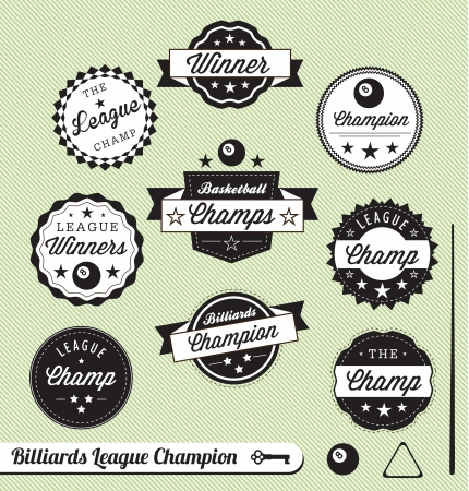 Vector Set: Billiards and Pool Hall Champ Labels