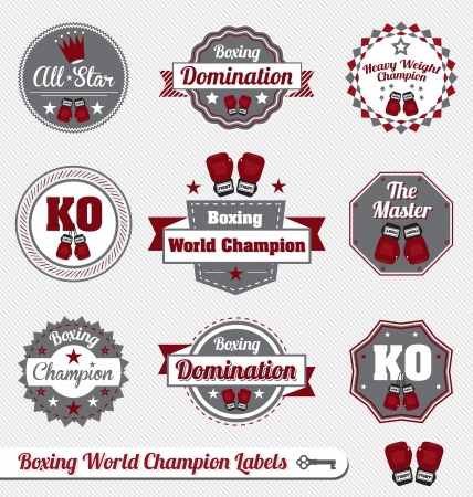 Vector Set: Vintage Boxing Champion Labels and Icons