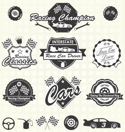 Illustration pour Vector Set: Retro Race Car Driver Champion Labels - image libre de droit