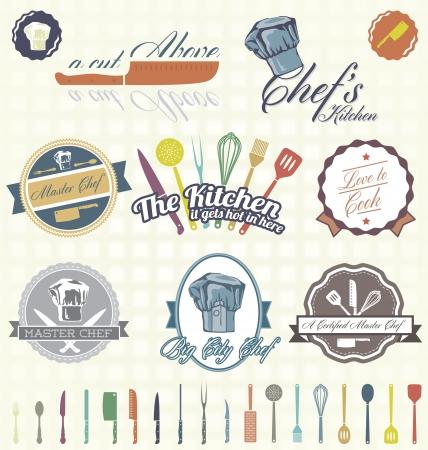 Illustration pour Set  Kitchen   Chef Labels - image libre de droit