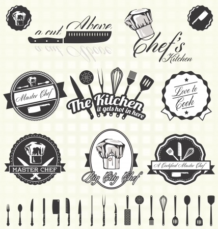 Illustration pour Set  Kitchen   Chef Labels - image libre de droit