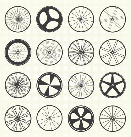 Illustration pour Set  Bike Tire Silhouettes - image libre de droit