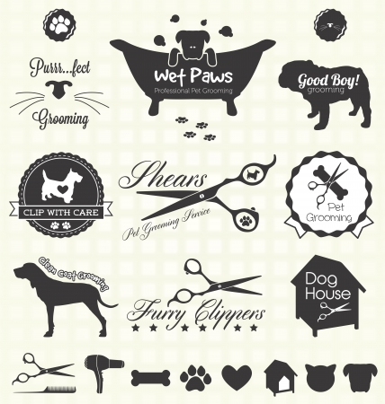 Set  Pet Grooming Labels