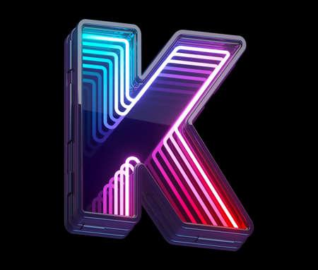 Infinity light neon font. Letter K.
