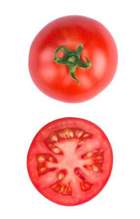 Foto de Tomato half slice isolated on white background, top view - Imagen libre de derechos