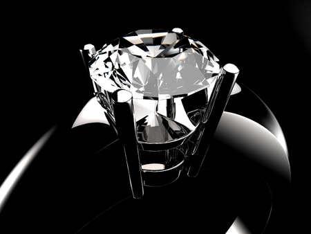 Photo pour Diamond solitaire ring closeup in dark environment - image libre de droit