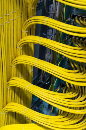 Photo pour Network cable on a network HUB in the data center - image libre de droit