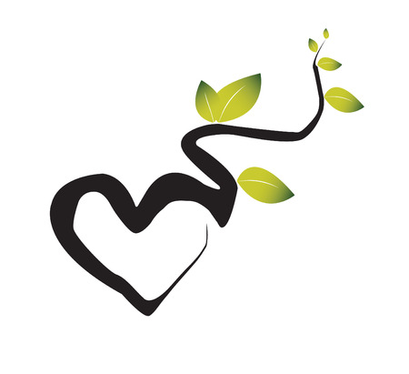 Illustration pour Branches of a green plant intertwine in the form of heart. The illustration symbolises love to the nature - image libre de droit
