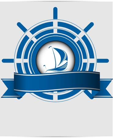 Sailing ship label in the ocean vector format