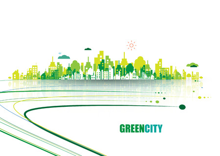 Illustration for Green city. Ecology concept. Save life and environment background - Royalty Free Image