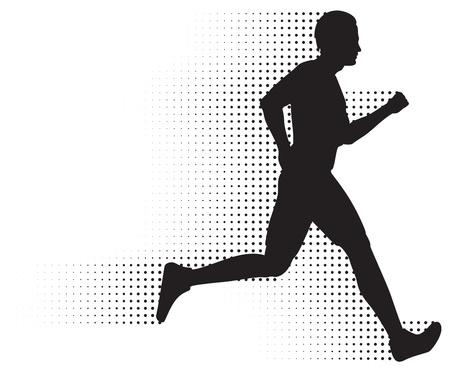 Running Man Silhouette &, Halftone Trail. No Gradients.
