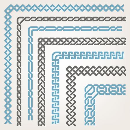 Illustration for Decorative seamless islamic ornamental border with corner - Royalty Free Image