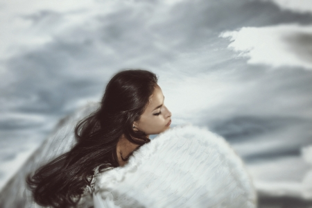 Photo for fantasy angel woman with sky in background - Royalty Free Image
