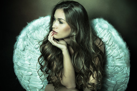 Photo for beautiful angel woman with white wings - Royalty Free Image