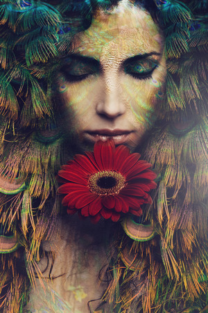 Photo pour fantasy beautiful woman portrait with flower, composite photo - image libre de droit