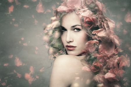 Photo pour woman beauty portrait with flowers  composite photo - image libre de droit