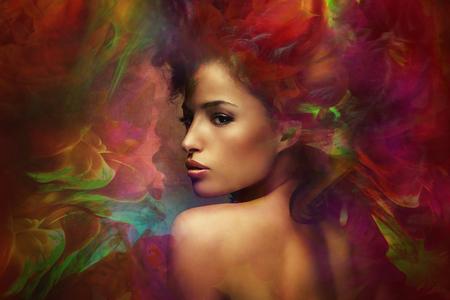 Photo pour fantasy colorful beautiful young woman portrait, composite photo - image libre de droit