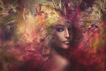 Photo pour fantasy colorful beautiful young woman portrait, composite photo - image libre de droit