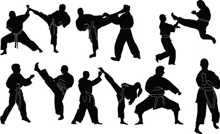 karate silhouette collection - vector