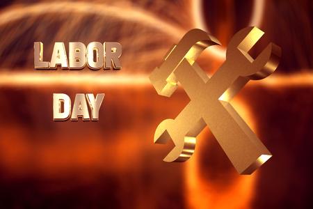Photo pour Labor day banner, Golden text and a symbol of working, 3d - image libre de droit