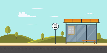 Illustration pour Bus stop on main street city.Public park with bench and bus stop with sky background.Vector illustration - image libre de droit
