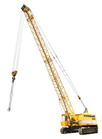 Foto de diesel electric yellow crawler crane isolated on white background - Imagen libre de derechos