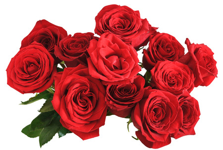 Photo pour above view of bouquet of red roses isolated on white background - image libre de droit