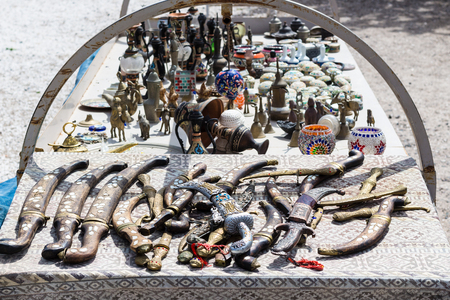 Foto de Travel to Turkey - souvenir on street market in Goreme town in Cappadocia in spring - Imagen libre de derechos
