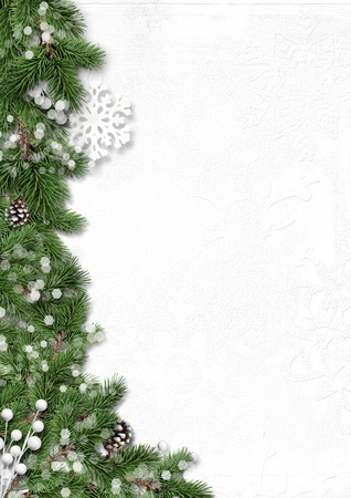 Photo for Winter tree border with decorations isolated on white background - Royalty Free Image