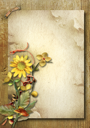 Photo pour Vintage vertical card with autumn bouquet and sunflower - image libre de droit