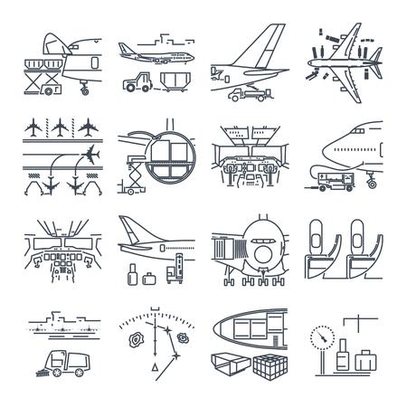 Ilustración de Set of thin line icons airport and airplane, freight, cargo aircraft - Imagen libre de derechos