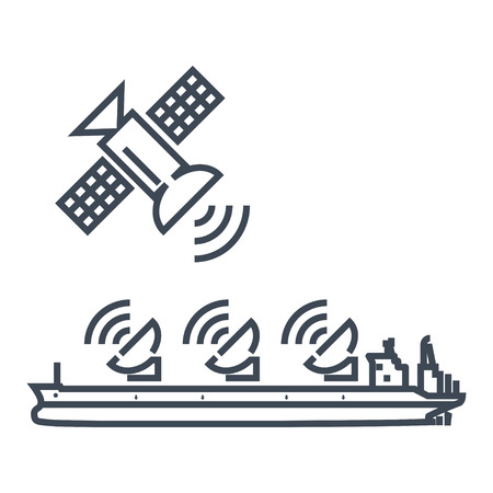 Ilustración de thin line icon radar, antenna on ship, satellite dish, connection - Imagen libre de derechos
