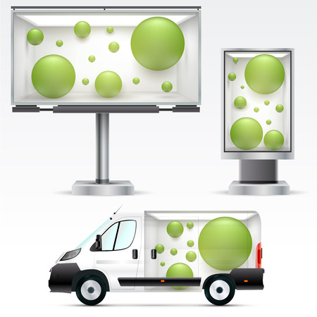 Illustration pour Template outdoor advertising or corporate identity on the car, billboard and citylight. For business, branding and advertising companies. - image libre de droit